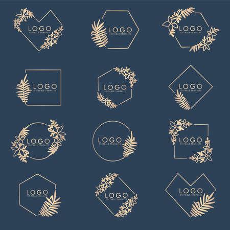 feminine floral elegant logo editable template Illustration