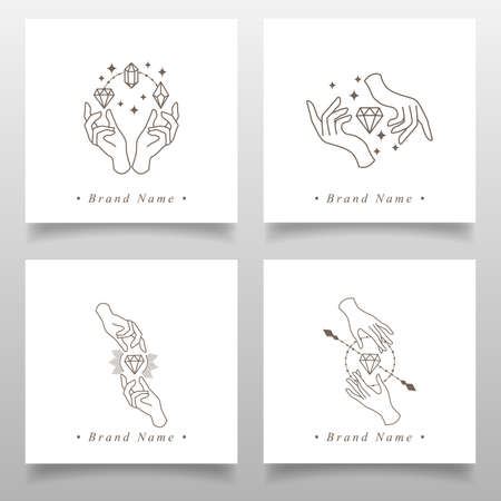 feminine hand elegant logo editable template Standard-Bild - 154589966