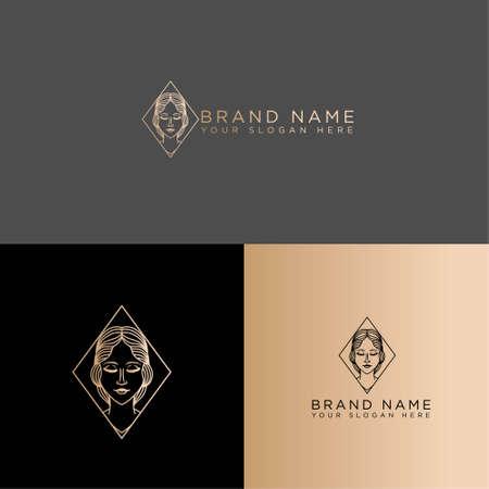 elegant vintage line art logo editable template
