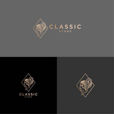 elegant vintage beauty women line art logo editable template