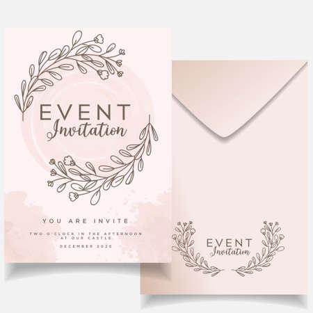 feminine elegant event wedding invitation editable template Vektoros illusztráció