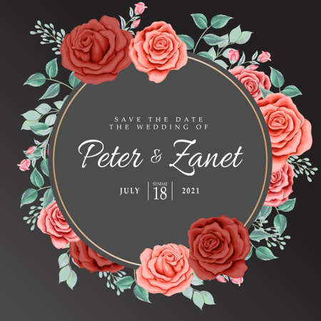 beautiful floral wedding event invitation card editable template Standard-Bild - 154590025