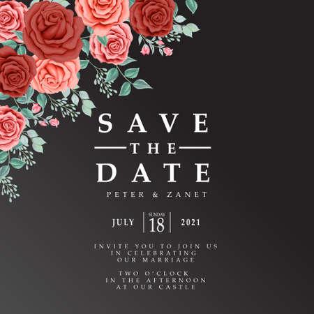 beautiful floral wedding event invitation card editable template Illustration
