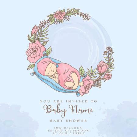 cute baby shower watercolor invitation editable template