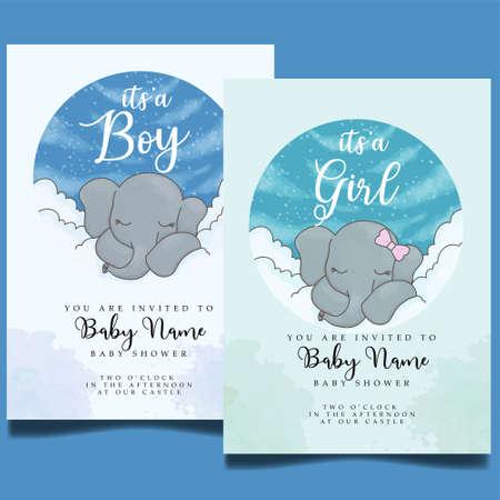 baby shower event invitation card editable template Illustration