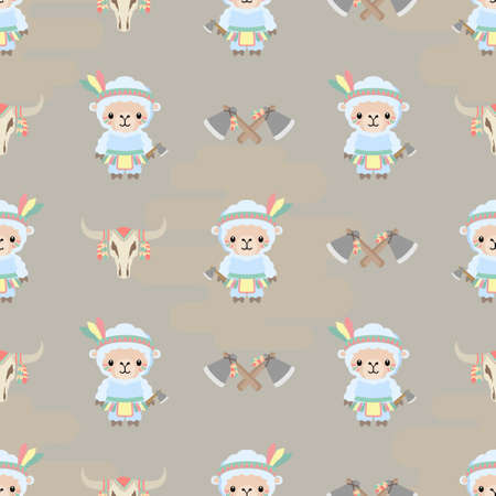 cute native american animal cartoon seamless pattern set