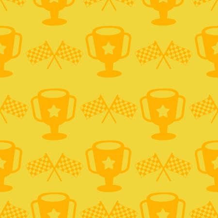 cute trophy race cartoon seamless pattern print surface design illustration
