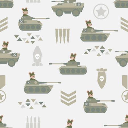 cute military cartoon seamless pattern print surface design illustration