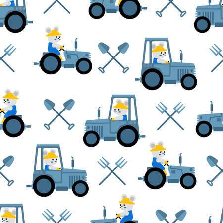 cute farmer tractor cartoon seamless pattern print surface design illustration