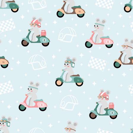 cute scooter race cartoon seamless pattern print surface design illustration Illustration