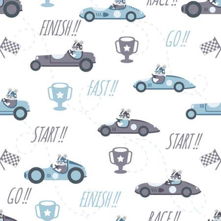 cute car race cartoon seamless pattern print surface design illustration