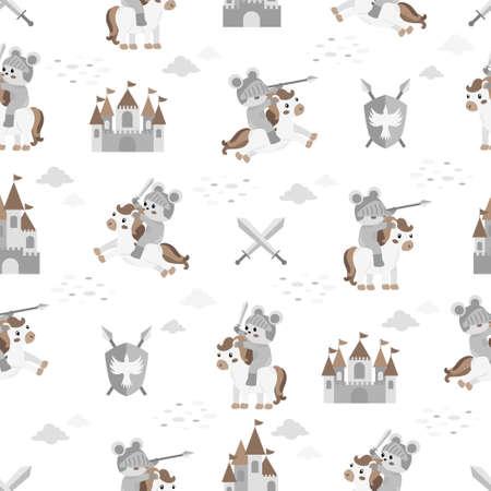 cute knight castle cartoon seamless pattern print surface design illustration Illustration