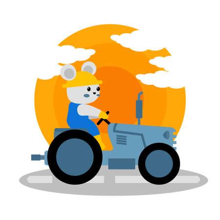 cute farmer tractor cartoon doodle tank vector illustration design for print