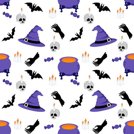 CUTE HALLOWEEN RABBIT BUNNY CARTOON DOODLE SEAMLESS PATTERN ILLUSTRATION