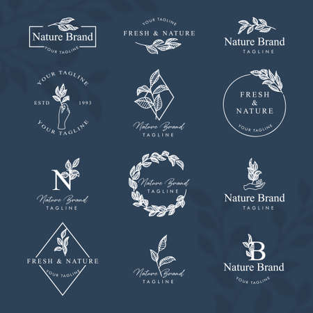 FEMININE FLORAL LINE ART LOGO EDITABLE TEMPLATE SET Logos