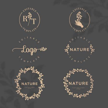 elegant floral nature botanical frame  editable template set