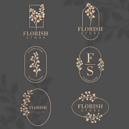 luxury floral nature botanical frame   editable template set