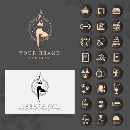 luxury yoga pose woman  editable template