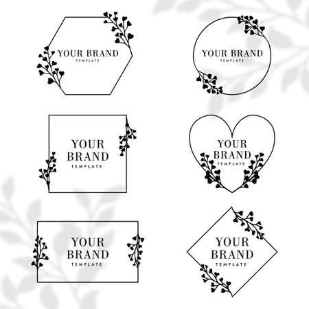 simple floral nature botanical frame  editable template package Illustration