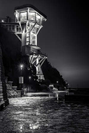 Passetto beach in Ancona city with the typical lift by night