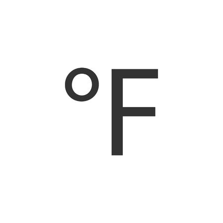 Fahrenheit. Black Icon Flat on white background