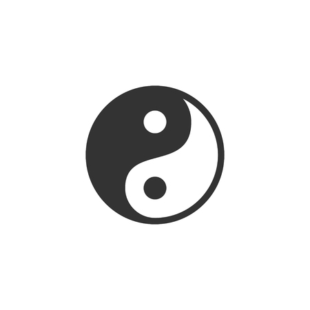 Yin Yang. Black Icon Flat on white background