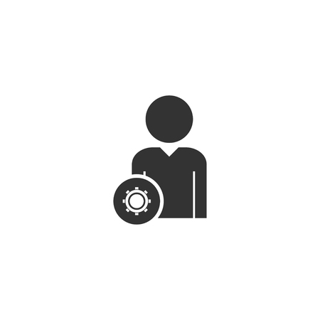 User with Gear. Black Icon Flat on white background