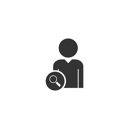 Search user. Black Icon Flat on white background