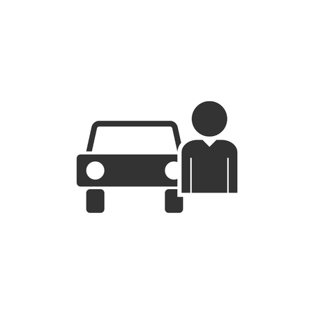 Driver. Black Icon Flat on white background 일러스트