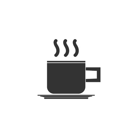 Coffee cup. Black Icon Flat on white background