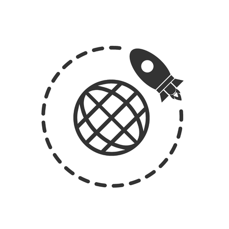 Go to Space. Black Icon Flat on white background