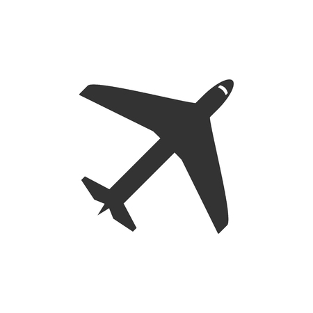 Airplane. Black Icon Flat on white background