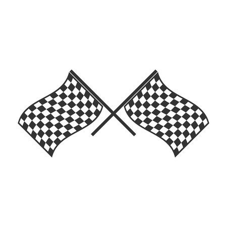 Racing flag. Black Icon Flat on white background