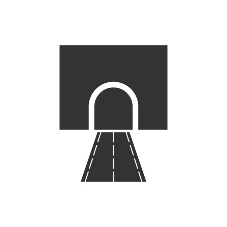 Road tunnel. Black Icon Flat on white background Illustration