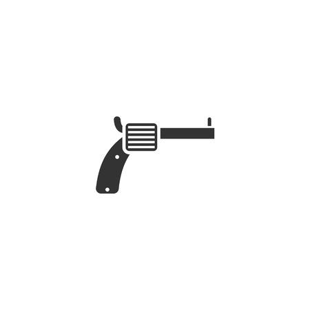 Revolver. Black Icon Flat on white background