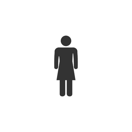 Woman. Black Icon Flat on white background Illustration