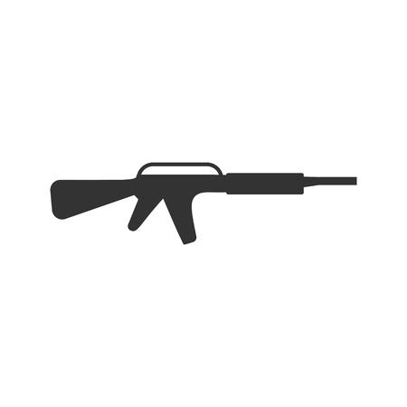 Assault carbine. Black Icon Flat on white background