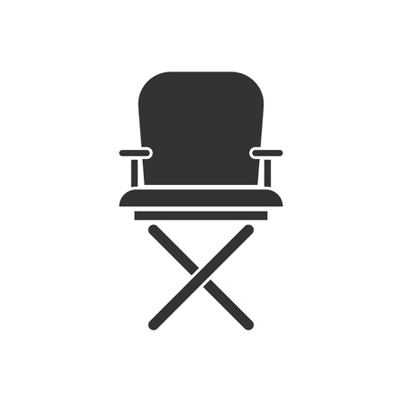 Director chair. Black Icon Flat on white background