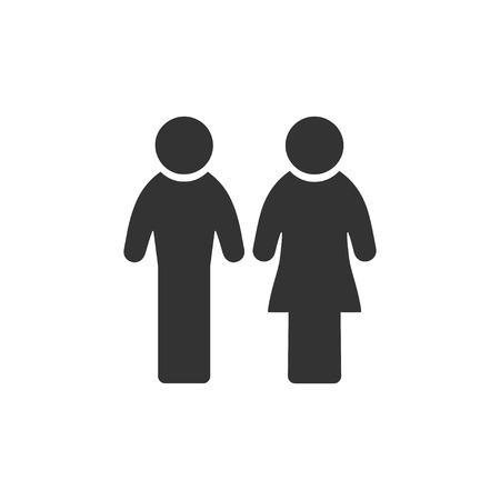 Man and Woman. Black Icon Flat on white background