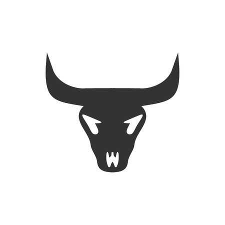 Bull skull. Black Icon Flat on white background