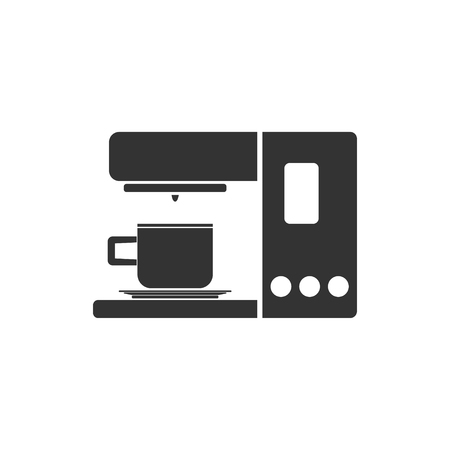 Coffee maker machine. Black Icon Flat on white background Çizim