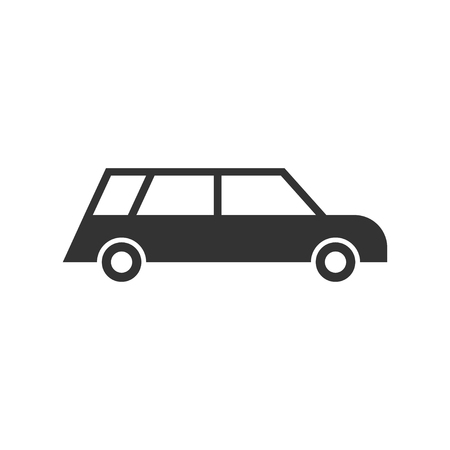 Passenger car. Black Icon Flat on white background