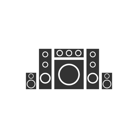 Home theater. Black Icon Flat on white background Stock Illustratie