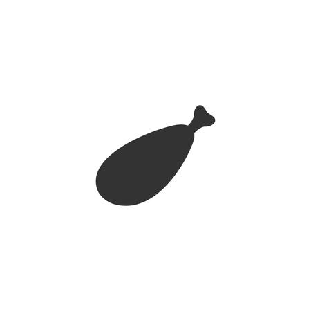 Meat leg. Black Icon Flat on white background Illustration