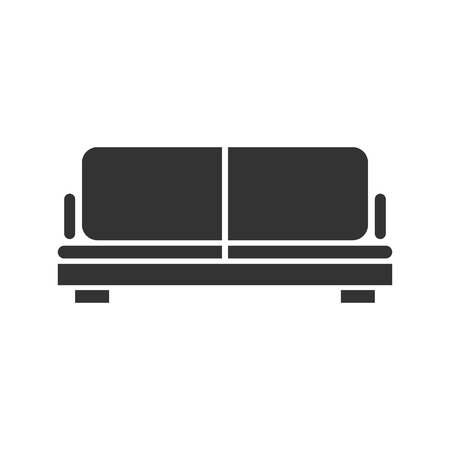 Sofa. Black Icon Flat on white background Illustration