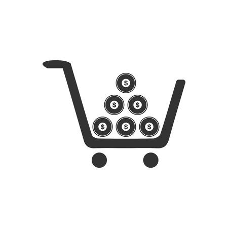 Shopping cart. Black Icon Flat on white background Illustration