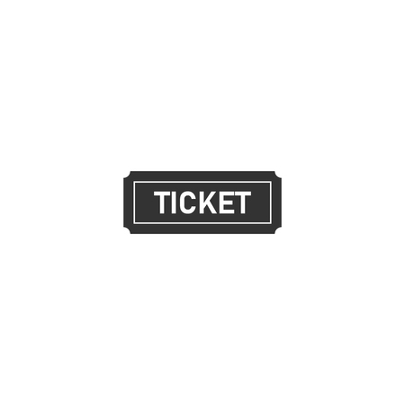 Ticket. Black Icon Flat on white background