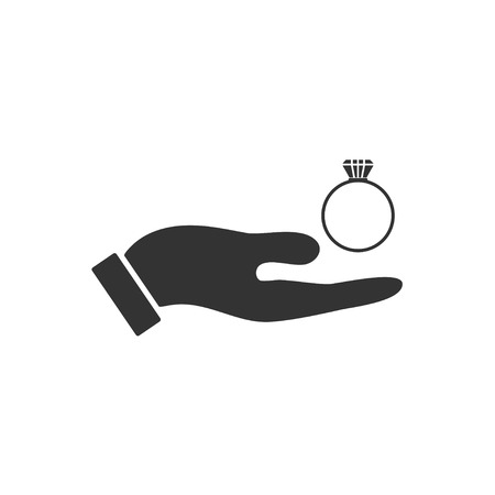 Male hands holding engagement ring. Black Icon Flat on white background