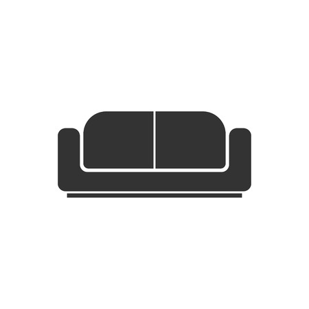 Bed. Black Icon Flat on white background