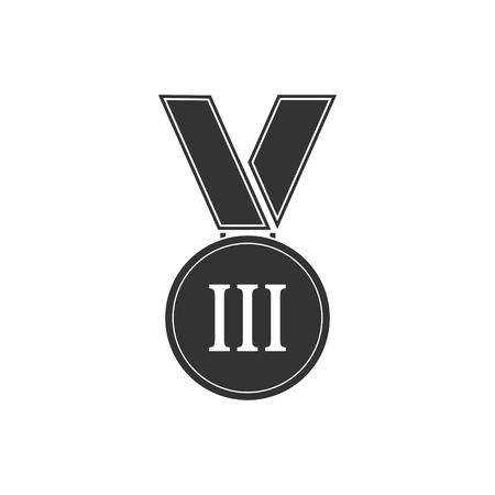 Medal. Black Icon Flat on white background